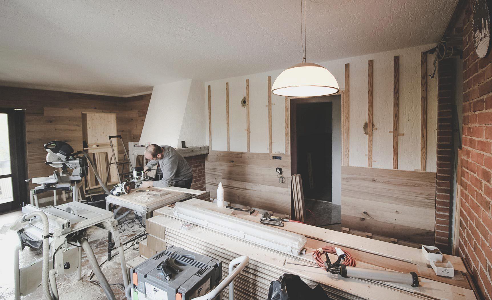 parete in legno parquet